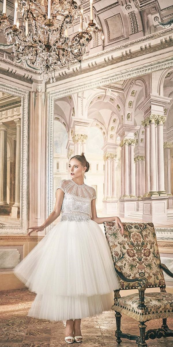 24 Gorgeous Tea Length Wedding Dresses ❤ See more: http://www.weddingforward.com/tea-length-wedding-dresses/ #wedding #dresses #tea #length
