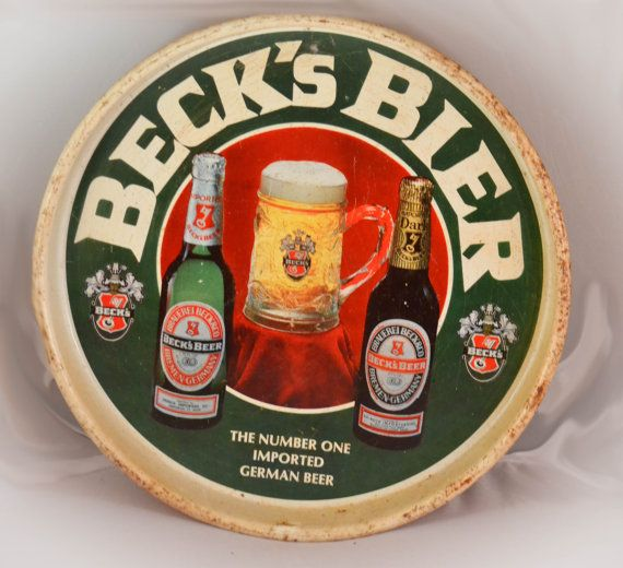 Vintage Beck's Bier Beer Tin Tray by ArtistByDesign on Etsy, $14.99