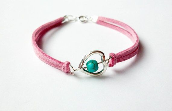 Pink Suede Bracelet Turquoise Stone Bracelet Heart by CatiShop