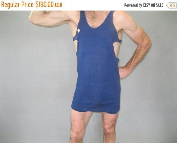 ON SALE 1920s Mens Bathing Suit - Vintage Swimsuit - Blue jersey Gatsby Era- Mint