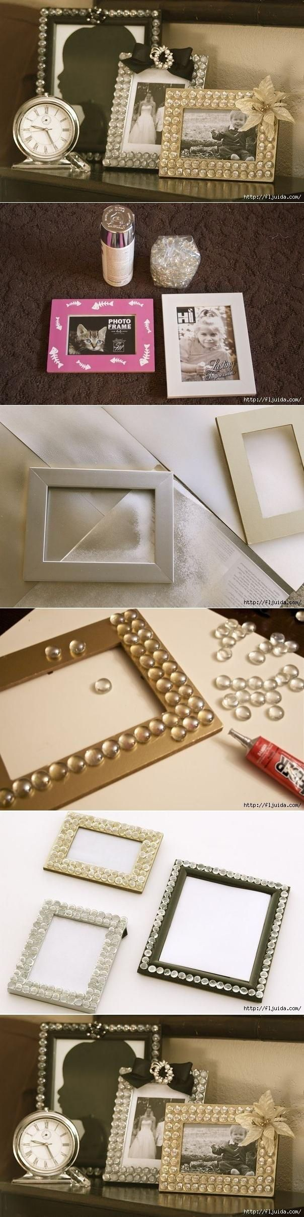 DIY Glamorous Picture Frame ~ Made with glass gems from the Dollar Store! Pretty for Christmas or Mother's Day.