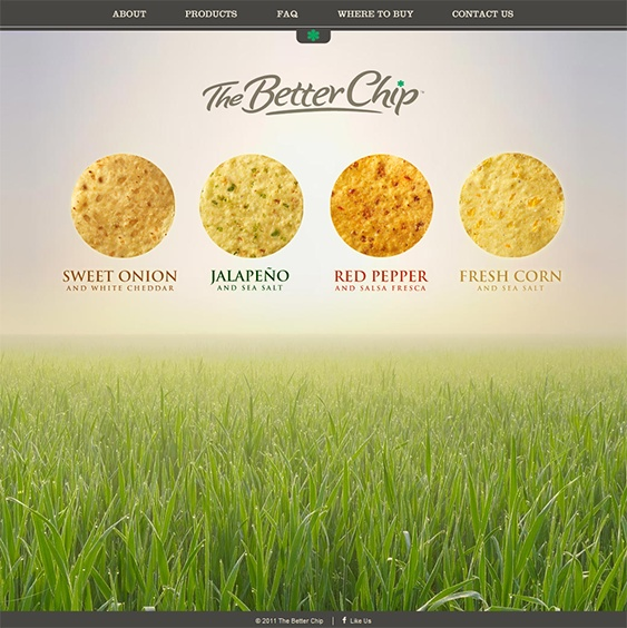 The website for The Better Chip, a US based snack company, uses horizontal scrolling in a slightly different way:  the top half of the site moves as you navigate through the site, while the bottom section is static, keeping images of their product range in view at all times.  This site shows how horizontal scrolling can be a great choice for food manufacturers that want to showcase their items in a fun and interesting way.