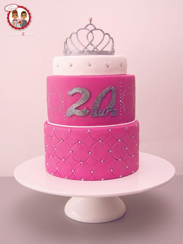 Gâteau Diadème Princesse - Princess Silver Pink Crown Cake - Un Jeu d'Enfant Cake Design Nantes France