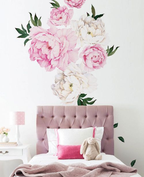 Peony Flowers Wall Stickers, Vivid Pink Peonies Wall Stickers