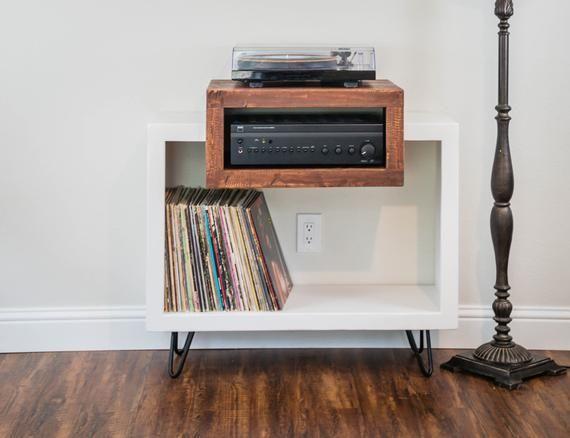 Mid Century Modern Rustic Record Player Stand Vinyl Storage Etsy Record Player Stand Modern Rustic Furniture Vinyl Storage