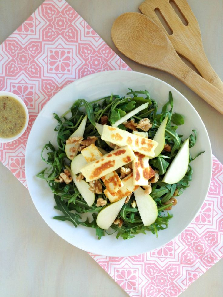 Pear, Walnut and Haloumi Salad with Mustard Dressing
