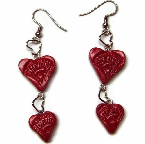 Polymer Clay Red Heart Stamped Valentines Dangle Earrings