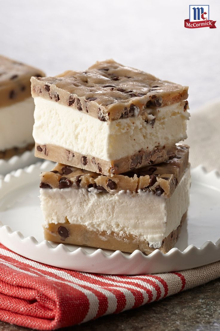 Cookie dough lovers everywhere will love this quick and easy summer dessert. Instead of using baked chocolate chip cookies to sandwich the ice cream, this frozen treat is prepared with an unbaked egg-free chocolate chip cookie dough. A perfect dessert rec