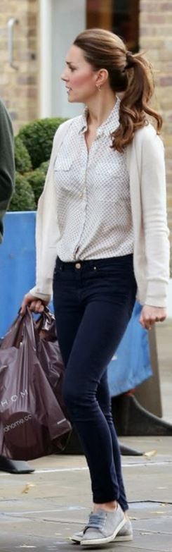 Kate Middleton: Purse – Mulberry  Earrings – Kiki McDonough Citrine Drop Earrings  Shoes – Mint Velvet  Shirt – Jack Wills