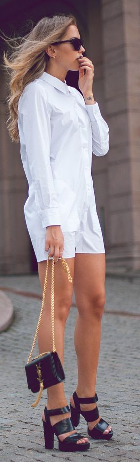 Acne White Chic Basic Shirt Dress by Kenzas