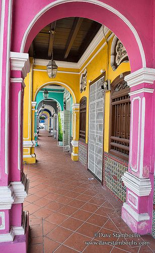 colorful architecture in the UNESCO World Heritage zone of Georgetown in Penang, Malaysia