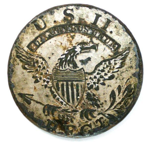 Second Regiment Officer's Button, c.1812, 23.28mm, (silvered brass) Albert's 53R2A