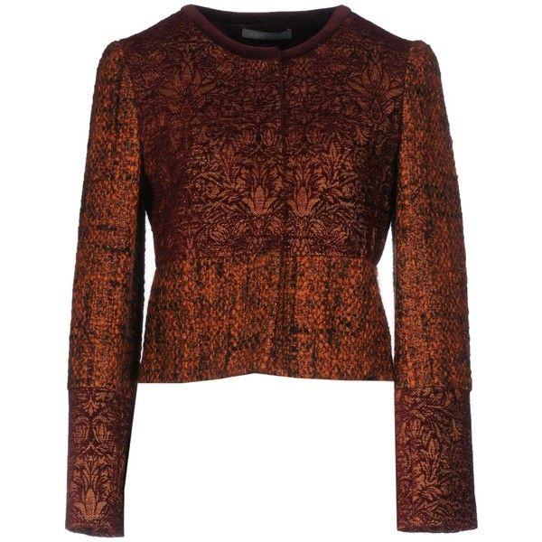 Alberta Ferretti Blazer ($1,100) ❤ liked on Polyvore featuring outerwear, jackets, blazers, maroon, maroon jacket, maroon blazer, patterned blazer, snap jacket and brown blazer jacket