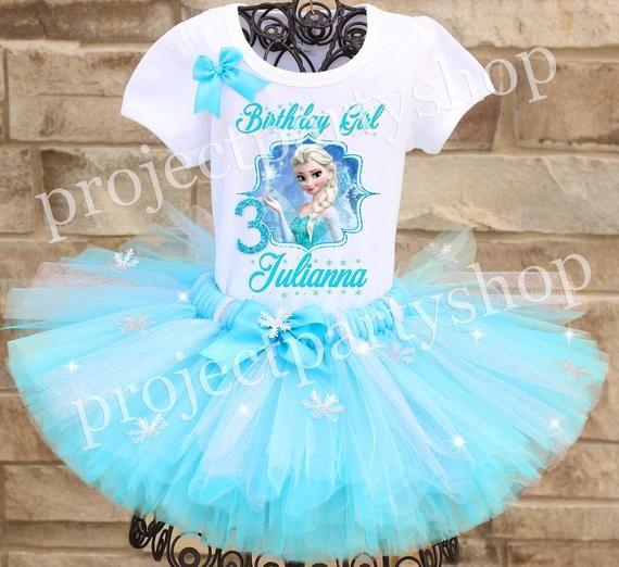 Frozen Elsa Birthday Tutu Set Outift Your Child/'s Name and Age