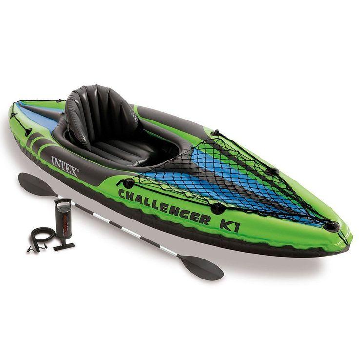 INTEX Challenger K1 Inflatable Kayak Kit with Paddle,  Pump & Case, River, Water #Intex