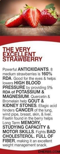 Diet Cholesterol Cure - Cholesterol Cure - Cholesterol Cure - The Berry Excellent strawberry Powerful ANTIOXIDANTS. 8 medium strawberries is 160% RDA. Good for the eyes helps lowers HIGH BLOOD PRESSURE by providing 5% RDA of POTASSIUM MAGNESIUM. Quercetin Bromelain help GOUT KIDNEY STONES. Ellagic acid hinders CANCER of the lung, wind pipe, breast, skin, liver. Fisetin found in the berry helps Long Term MEMORY, STUDYING CAPACITY MOTOR SKILLS. Fights BAD CHOLESTEROL. - The One Food Chol...