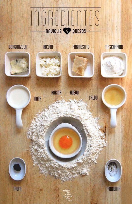 Ingredientes para raviolis 4 quesos con salsa de trufa negra..