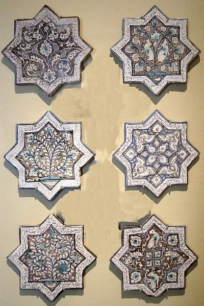 Six star tiles from Iran, late 13th or early 14th century,glazed stone paste.