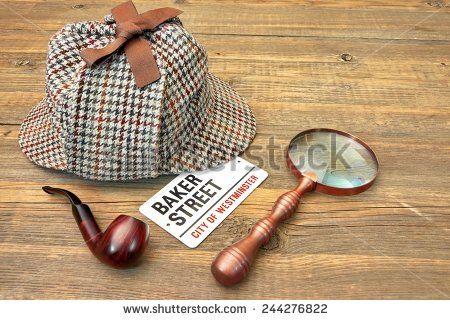 Baker Street Signboard, Sherlock Holmes Cap famous as Deerstalker, Smoking Pipe and Vintage Magnifier on Grunge Wood Table - stock photo