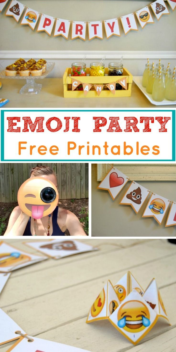 Look no further for Emoji party ideas! This is a theme that is fun for all, and the emoji party package is perfect to use at your next celebration. Use our FREE printables and throw a low-cost emoji party of your own with the use of Emoji bunting, cootie catcher and camera lens buddy. They are the perfect answer to DIY birthday party preparation. #Emoji #Party #Printables #Freeprintables