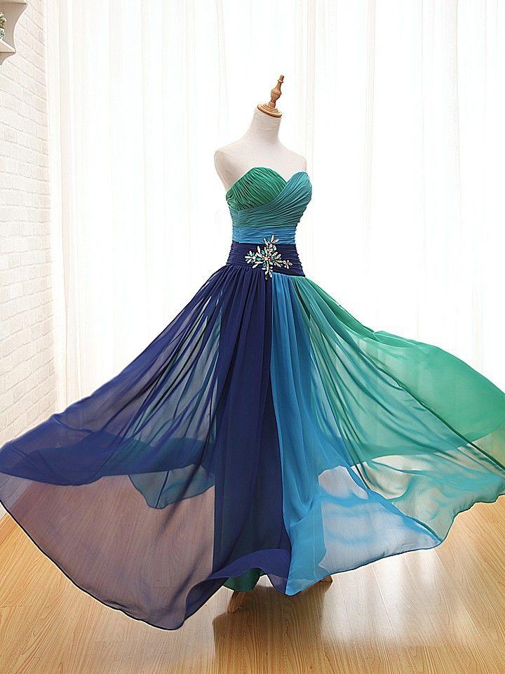 Robe de soiree Tropical Chiffon Peacock Evening Dress Blue vestido de festa Long Bandage Dress With Stones Floor Length