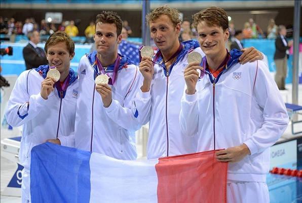 4x200-m freestyle relay, team France Amaury Leveaux, Gregory Mallet, Clement Lefert & Yannick Agnel silver medalist