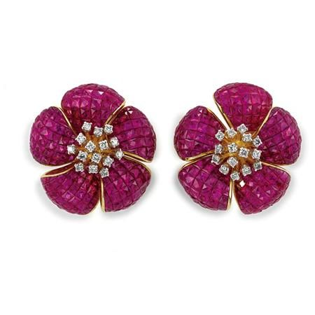 Pair of Invisibly-Set Ruby and Diamond Flower Earrings