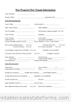 Printable new property or new tenant info 2 template 2015