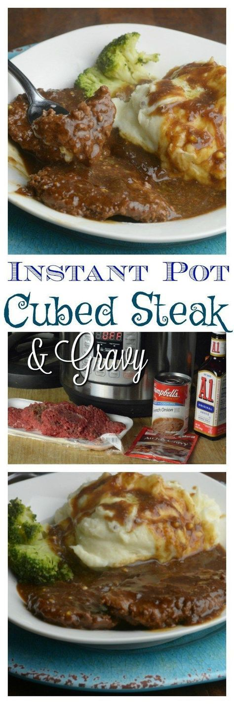 """instant-pot-cubed-steak- brown first on stove-top. 18 minutes on """"meat"""" setting"""
