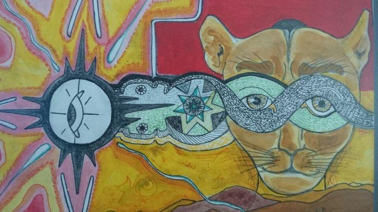Trilogía Andina. Serpiente-Puma-condor (inconsciente-consciente-superconsciente) Autor: Alejandro Vera Ramírez . Medidas: 14 x 28.5 cms. @AlexVeraMx 2012.