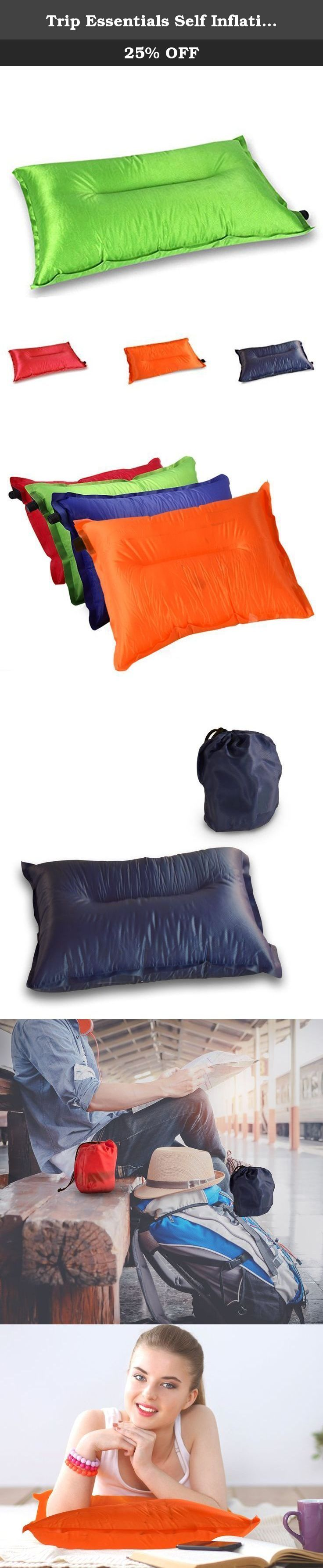Trip Essentials Self Inflating Pillow, Comfortable Inflatable Pillow for Traveling and Outdoors (Green). This travel pillow by Trip Essentials is all you need for a comfortable and relaxing experience when traveling. Planes, Trains, and Automobiles alike this pillow is great for any travel occasions. This is a must have item for camping! The pillow's design consists of a soft surface for pillow-top and foam interior for great head and neck support. To inflate the pillow, open the pillow's...