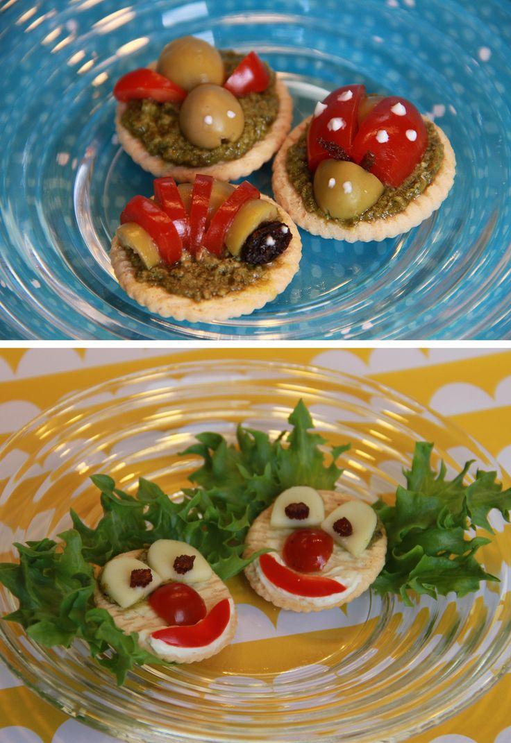 Suolakeksit | lasten | lapset | idea | askartelu | kädentaidot | käsityöt | hauska | hassu | suolakeksi | oliivi | tomaatti | herkku | puuha | kesä | juhlat | karnevaalit | summer | party| carnivals | DIY | ideas | kids | children | crafts | home | cracker | tomato | olive | Pikku Kakkonen