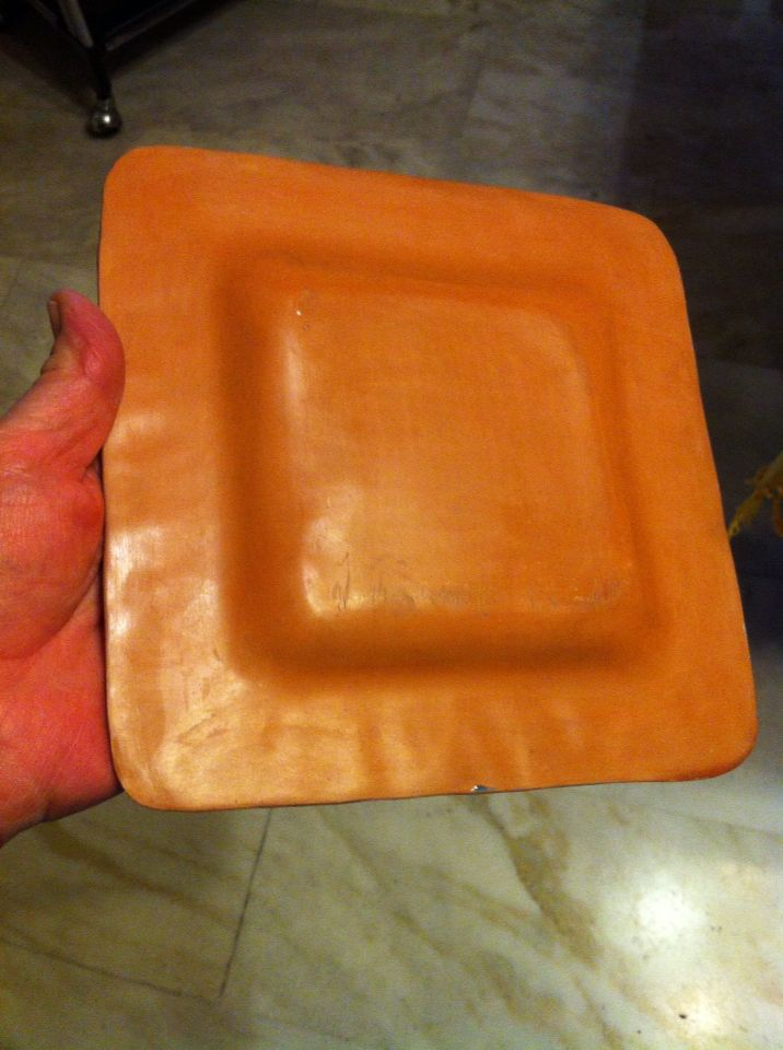 Back of green square plate