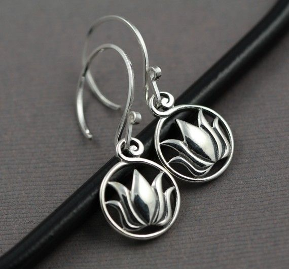 I like the bail on these. Sterling Silver lotus earrings - Etsy