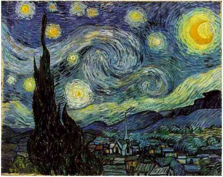 Starry Night by Vincent van Gogh Painting, Oil on Canvas Saint-Rémy, France: June, 1889
