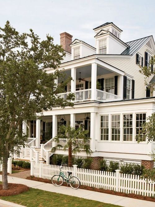 Beautiful Southern home, double porch, sunroom, picket fence. Find this Pin  and more on Georgian Style Homes ...