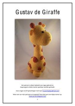 Haakpatroon Gustav de Giraffe  Dit patroon wordt als pdf toegestuurd zodra de bestelling voltooid is.    Haak deze schattige giraf zelf met dit leuke patroon van Pii_Chii.     Kijk voor meer mooie creaties ook eens op haar blog; www.pii-chii.blogspot.com