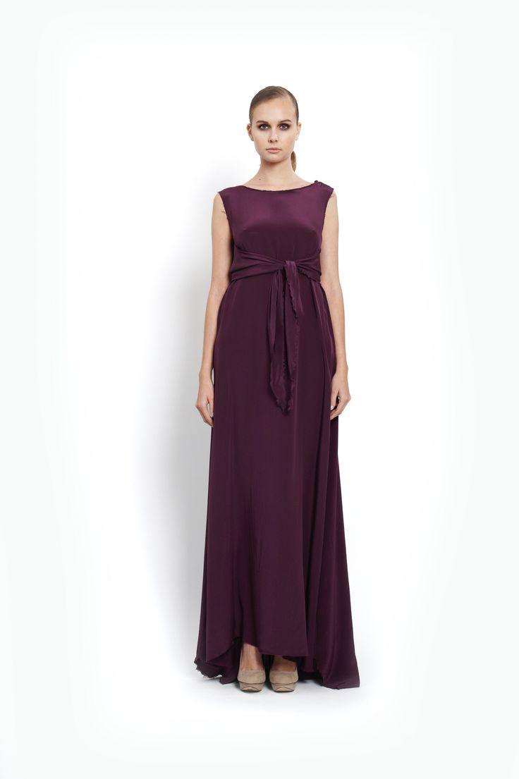 ocassion maxi silk wrap dress with trail, design Lucie Kutálková/ LEEDA