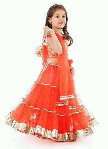 Indian Dresses: Orange Designer Indian Kids Dress