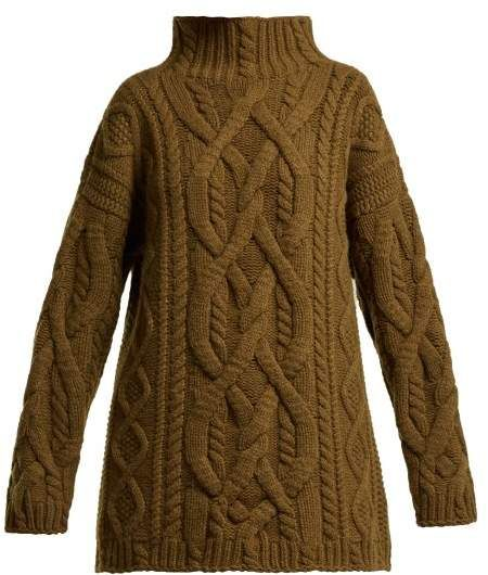 Connolly – Cable Knit Wool And Cashmere Blend Sweater – Womens – Dark Brown