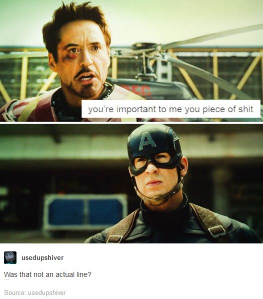 Was this not an actual line of dialogue in the movie? I think it was.<<<It was there, buried under all of that subtext. Don't fight me on this!