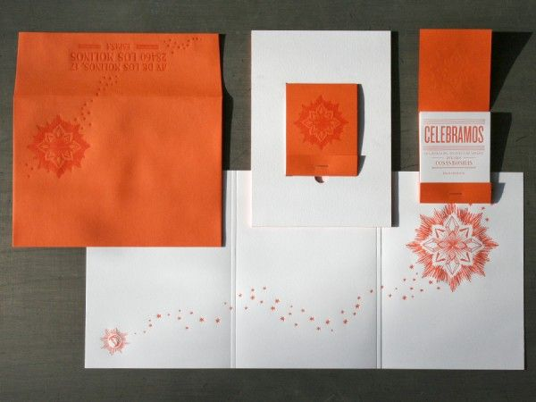 awesome wedding invitations!! and in orange:) in the shape of a matchbook to represent their reception with fire