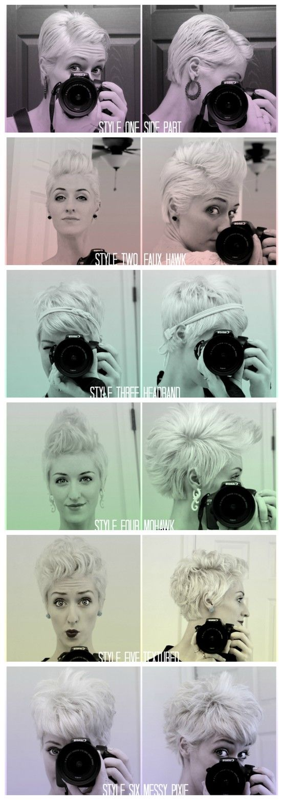 One cut. Six Styles.    if I ever have the courage to chop off all my hair, good short hair ideas :)