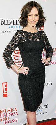 Jennifer Love Hewitt, petite (5'2) in a 3/4 sleeve dress. Nude lining under the lace.