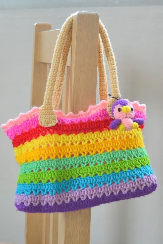 So Cute and just for inspiration! Adore The Sunshine: ~ Rainbow Crochet Bag ~