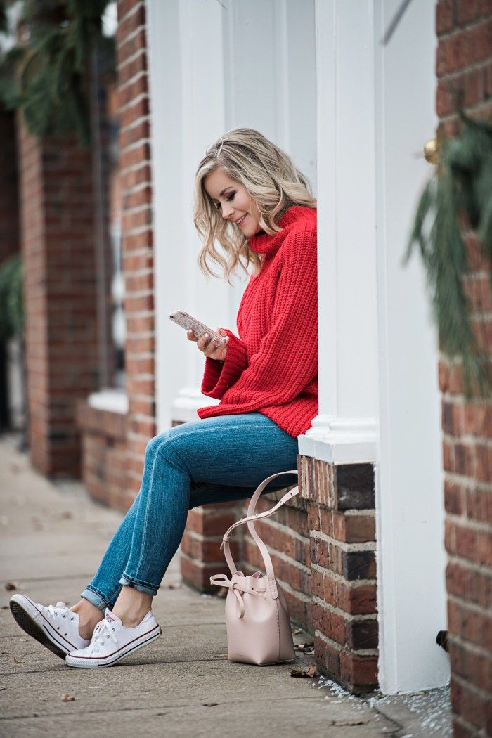 Casual Valentine's Day outfit- Cable knit sweater- Red chunky sweater - converse sneakers -