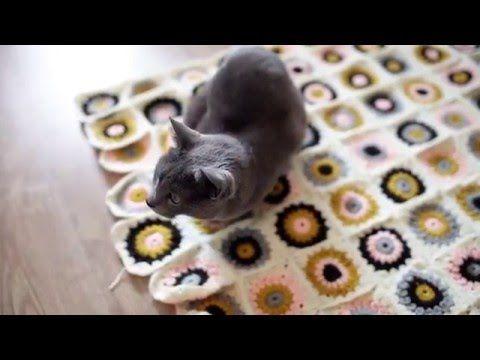 Na szydełku #1 Koc z babcinych kwadratów   Sunburst granny square crochet blanket Szydełkowanie koca, babcine kwadraty - słoneczka.