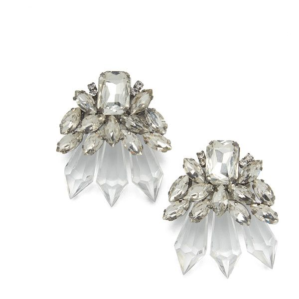 Ice Queen Drop Earrings ($27) ❤ liked on Polyvore featuring jewelry, earrings, clear, clear crystal jewelry, clear crystal earrings, post back earrings, cluster drop earrings and oversized earrings