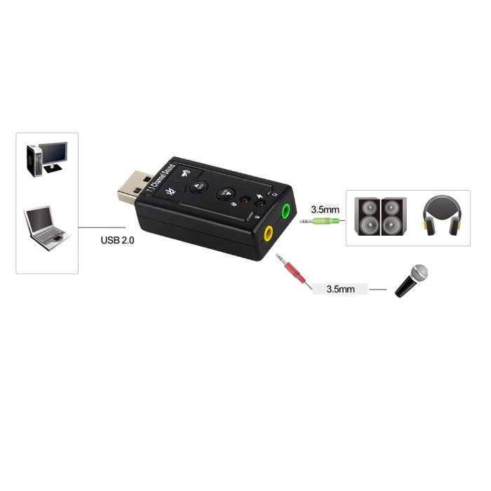 Das Usb Stereo Sound Adapter Ist Eine Sehr Flexible Audio Schnittstelle Die Sowohl Mit Desktop Oder Notebook Systemen Eingesetzt Werde Usb Surround Sound Ebay