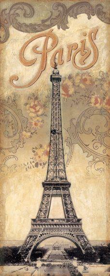 Paris Destination Eiffel Tower 12x 36 by TinaChadenDesigns on Etsy, $21.99
